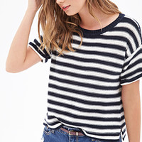 FOREVER 21 Striped Knit Crewneck Sweater