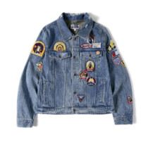 Recreational Embroidery Wash Jeans Jacket Jacket [4166204751908]