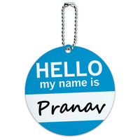 Pranav Hello My Name Is Round ID Card Luggage Tag