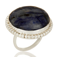 Handmade Sodalite Gemstone Cocktail Ring Made In Solid Sterling Silver