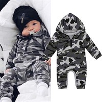 Infant Baby Boy Hooded Camouflage Romper born Baby Camo Long Sleeve Romper Warm Autumn Jumpsuit Outfit Boys Clothing