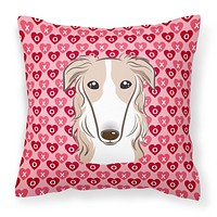 Borzoi Hearts Fabric Decorative Pillow BB5298PW1414