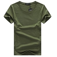 SWENEARO Men T-shirts Classical Short Sleeve O-neck Solid Color Loose Basic Tshirt Casual Fitness Men Bottoming tees shirs