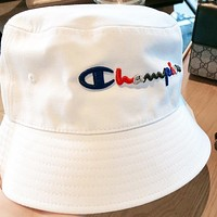 Champion New Fashion Embroidery Letter Women Men Sun Protection Leisure Cap Fisherman Hat White