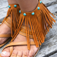 Fringe Ankle Leather Wrap