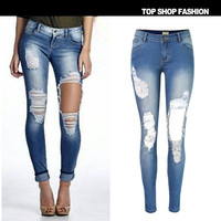 Fashion Low Waist Slim Stretch Denim Strong Character Ripped Holes Plus Size Skinny Pants [6365913476]