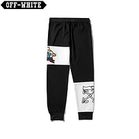 OFF-WHITE 2019 new three-dimensional embroidery doll trend beam casual pants
