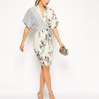 ASOS PETITE Pencil Dress with Drape Top in Floral and Bird Print