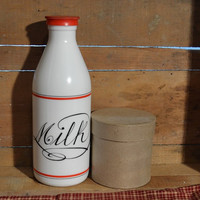 Egizia Italy Glass White Milk Bottle with Red Lid ! Highly Sought Red and White Milk in Script
