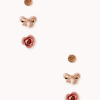 FOREVER 21 Romantic Stud Set Gold/Peach One