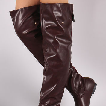 "Statement Back Zipper Leather Slouchy OTK Boots Over-The-Knee Boots Thigh High Boots Heel Height: 0.3"" Taupe & Tan & Wine & Black PU"