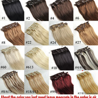 """16"""" 18"""" 20"""" 22"""" 24"""" 26"""" 28"""" 7pcs Set 100% Brazilian Remy Hair clips In/on Human Hair Extensions 22 Colors 70g 80g 100g 120g 140g"""