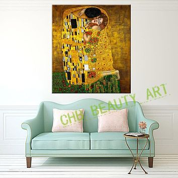 2017 Gustav Klimt Kiss Printed Painting On Canvas Wall Art Prints Picture for Living Room Home Decor Or Hotel  Unframed