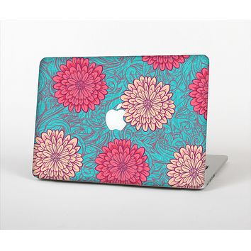 The Pink & Blue Floral Illustration Skin Set for the Apple MacBook Air 11""