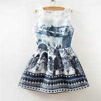 Street View Print Crew Neck Sleeveless Skater Dress