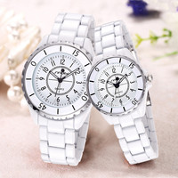 White Aestheticism Ceramic Water-Resistant Couple Quartz Dress Watch