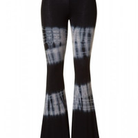 Tie Dye Jersey Bell Bottom Pants - Black/Navy