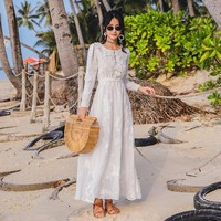 CBAFU slim white floral embroidery dress women mexican bohemian people hippie chic vintage party long dress N366