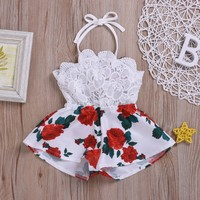 US Newborn Baby Girl Kids Sleeveless Romper Bodysuit Jumpsuit Outfit Clothes