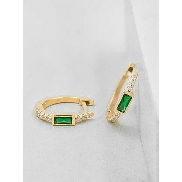 Baguette Huggies - Gold + Emerald