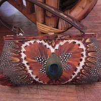 Vintage Small Peacock Clutch Purse by vintageworldrocks on Etsy