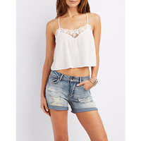 Embroidered Mesh Cropped Tank