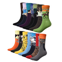 1 Pair Men Socks The Art Abstract Painting Pattern Series Of Cotton Socks In Tube Retro Harajuku Street Fashion Socks