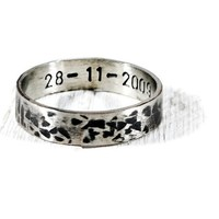 Personalized Men's Textured Oxidized Hammered Wide Band.