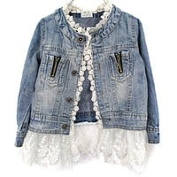 Trendy Toddler Girls Blue Jean Jacket with Lace Trim