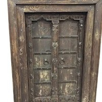 Antique Doors Hand Carved Reclaimed Teak Window Doors & Frame Indian Architecturals Yoga Decor