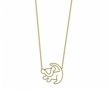 Gold Plated Simba Outline Lion King Necklace From Disney Couture : TruffleShuffle.com