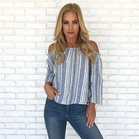 Beyond The Sea Linen Top in Blue