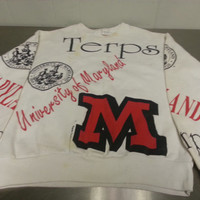 Vintage 90's University of Maryland Terrapins Terps Sweater Made In USA White Red Shy Turtle NCAA UMD
