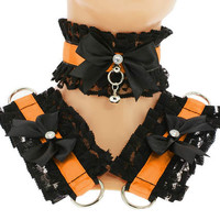 Kitten play collar and cuffs black orange, lolita, ddlg, bdsm collar, kittenplay, pastel gothic, goth kawaii, Pet play, puppy Princess C14
