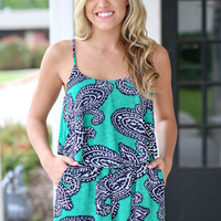 Walk My Way Romper - Green