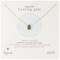 "Dogeared ""Lasting Healing Gems"" Smoky Quartz Gold Pendant Necklace, 16"""