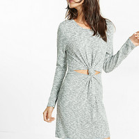 marled knot front crew neck dress