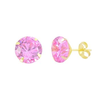 14k Yellow Gold Pink CZ Earrings Round Cubic Zirconia October Birthstone Studs
