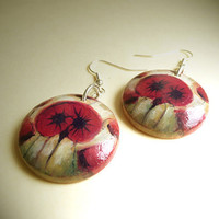 Dangle Earrings with Poppy Blooms Motif  -   Wood Earrings  - Hand Painted Jewelry  -   Arts and Crafts