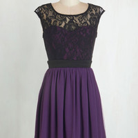 Short Length Cap Sleeves A-line Shortcake Story Dress in Purple