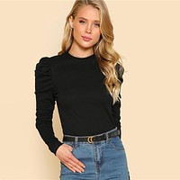 Puff Sleeve Slim Fit Top Rib Knit Tee Shirts Elegant Womens Long Sleeve Tops