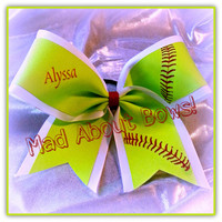 Neon Yellow Softball Cheer Bow Red Stitching ~ Personalized!