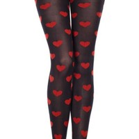 Red Queen of Hearts Black Pantyhose