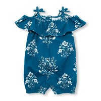 Baby Girls Sleeveless Floral Print Cold-Shoulder Ruffle Knit Romper | The Children's Place