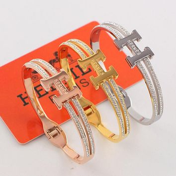 Hermes 2019 early spring new trend high-end full diamond women's bracelet