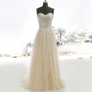 2015 New Lace Strapless Prom Dress Party Evening Cocktail Gown Ball Long Dresses = 1931765700