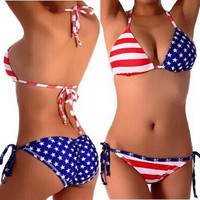 4th of July American Flag Two Piece Swimsuits Bikini Summer Beach Set