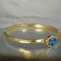 Dainty Solid 14k Gold Blue Zircon Ring, 3mm gold solitaire, solitaire ring, real gold, December Birthstone, Mothers RIng, Solid gold band