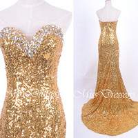 Mermaid Strapless Sweetheart with Crystal Sequined Golden Prom Dresses, Gold Evening Gown, Wedding Party Dresses