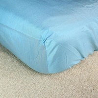 Royal Duke Natural Hypoallergenic Blue Fitted Crib Sheet | 100% Silk